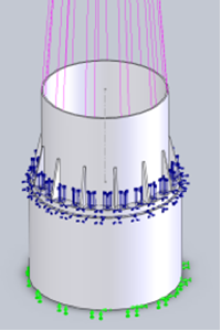 FEA Bolted tower connection model